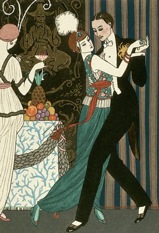 A color lithograph by V.G.Barbier depicts a couple dancing the tango