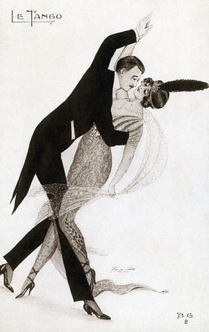 French Drawing of a Couple Dancing the Tango by Xavier Sager, 1914