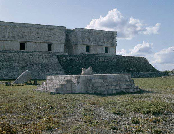 The Throne of the Two-headed Jaguar Against the Palace of the Governor in Uxmal