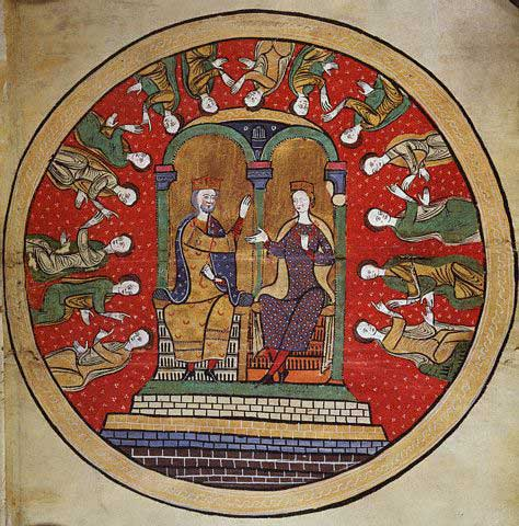 Miniature Painting Liber Feudorum Maior with Alfonso II and Sancha of Castile 12th c