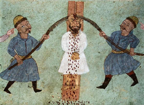 18th-Century Persian Miniature Painting Describing Torture