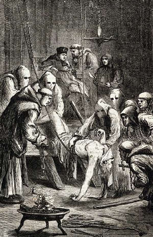 Inquisition torture of man who was accused of being a heretic