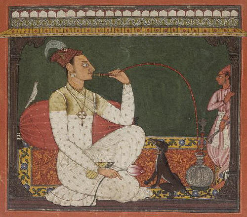 Raja Medini Pal smoking a hookah