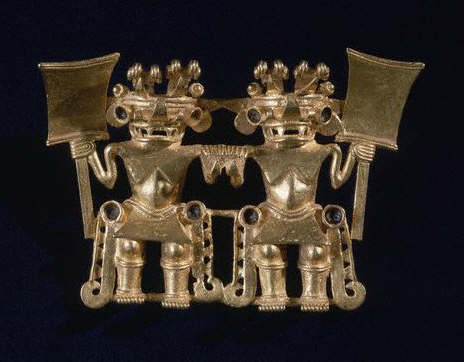 Pendant With Twin Warriors Holding Clubs ca. 800-1200