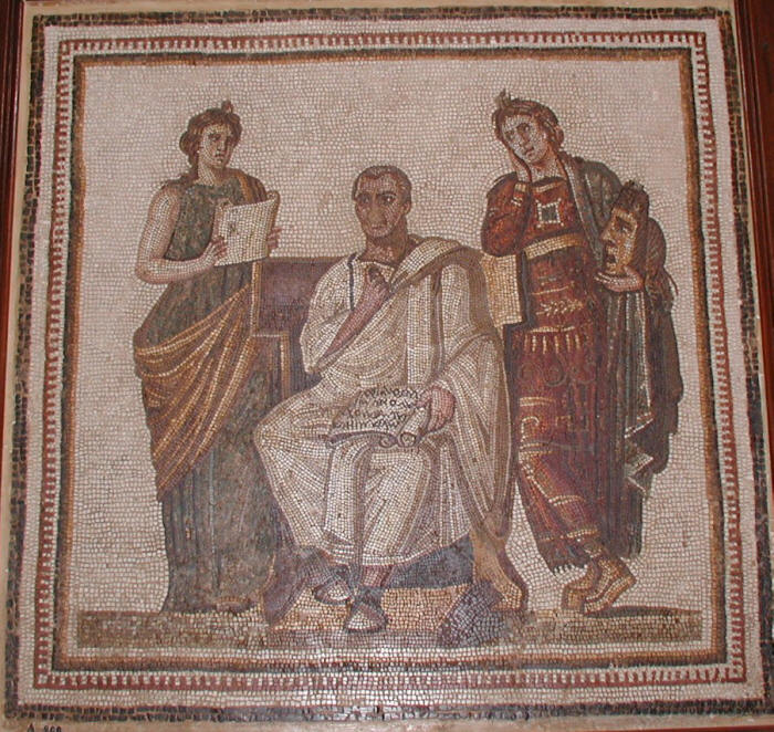 Mosaic of Virgil Writing the Aeneid alongside Muses Clio and Melpomene