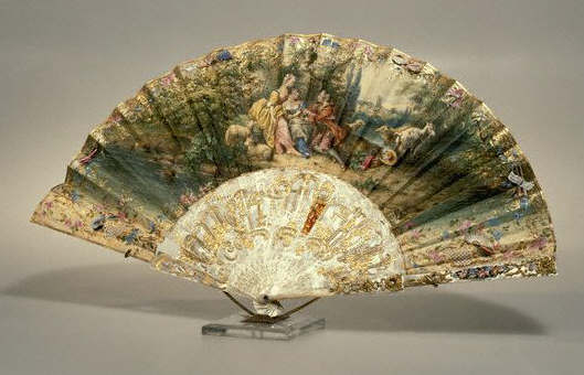 French Fan With Pastoral Scene 19th с
