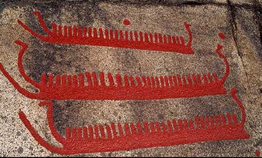 Rock Carving of Longships, Fossum