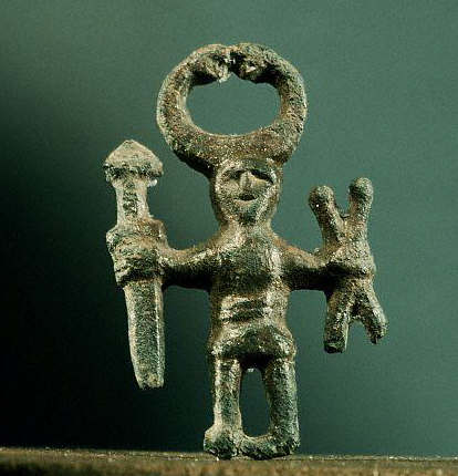 A bronze pendant or amulet, crafted during the 9th century, and found at a woman's grave in the Uppland region of Sweden