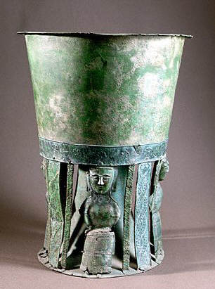 Votive Offering Cup With Human Figure Supports  7th c BC