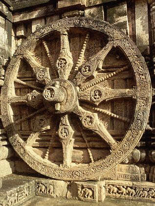 Wheel Sculpture at the Surya Temple, Konarka, India