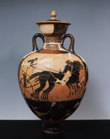 Greek Attic Black-Figure Amphora With Horse-Drawn Chariot  470 B.C.