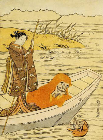 Daruma Shaving in a Boat